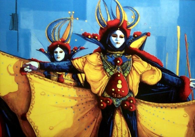 2000-Les Masques de Venise-30x41cm-Porcelaine de Limoges Editi