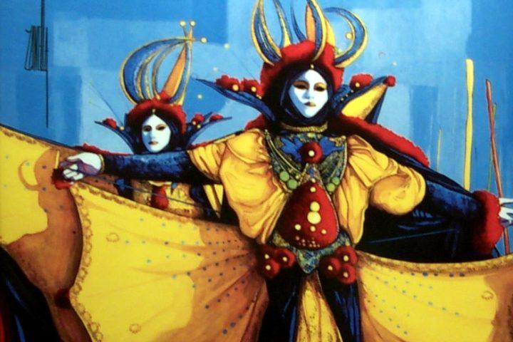 2000-Les-Masques-de-Venise-30x41cm-Porcelaine-de-Limoges-Editi