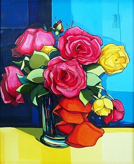 2001- Bouquet Roses et Coquelicots-8F