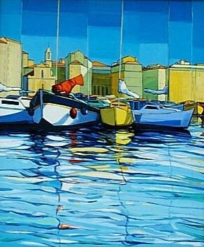 2002-Marseille-Le-Port-33x41cm-Porcelaine-de-Limoges-Edition-