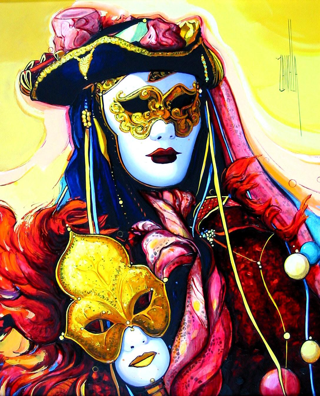 2003-Venise les deux masques-8F