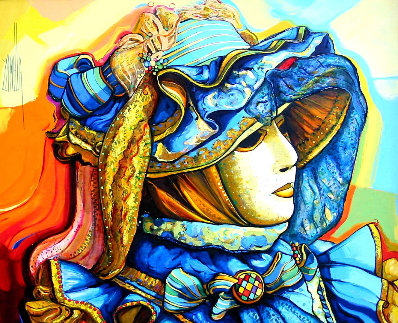 2003-Venise masque à l'habit bleu-8F