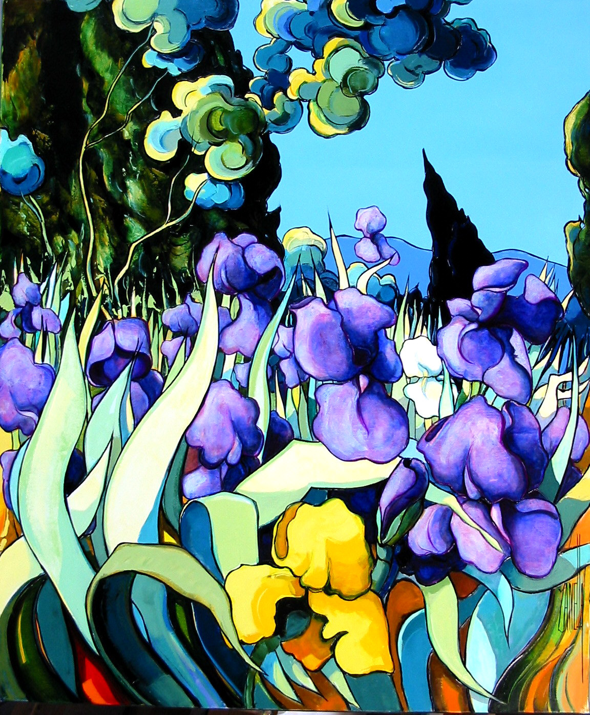 2004-Le cyprès aux iris-15F