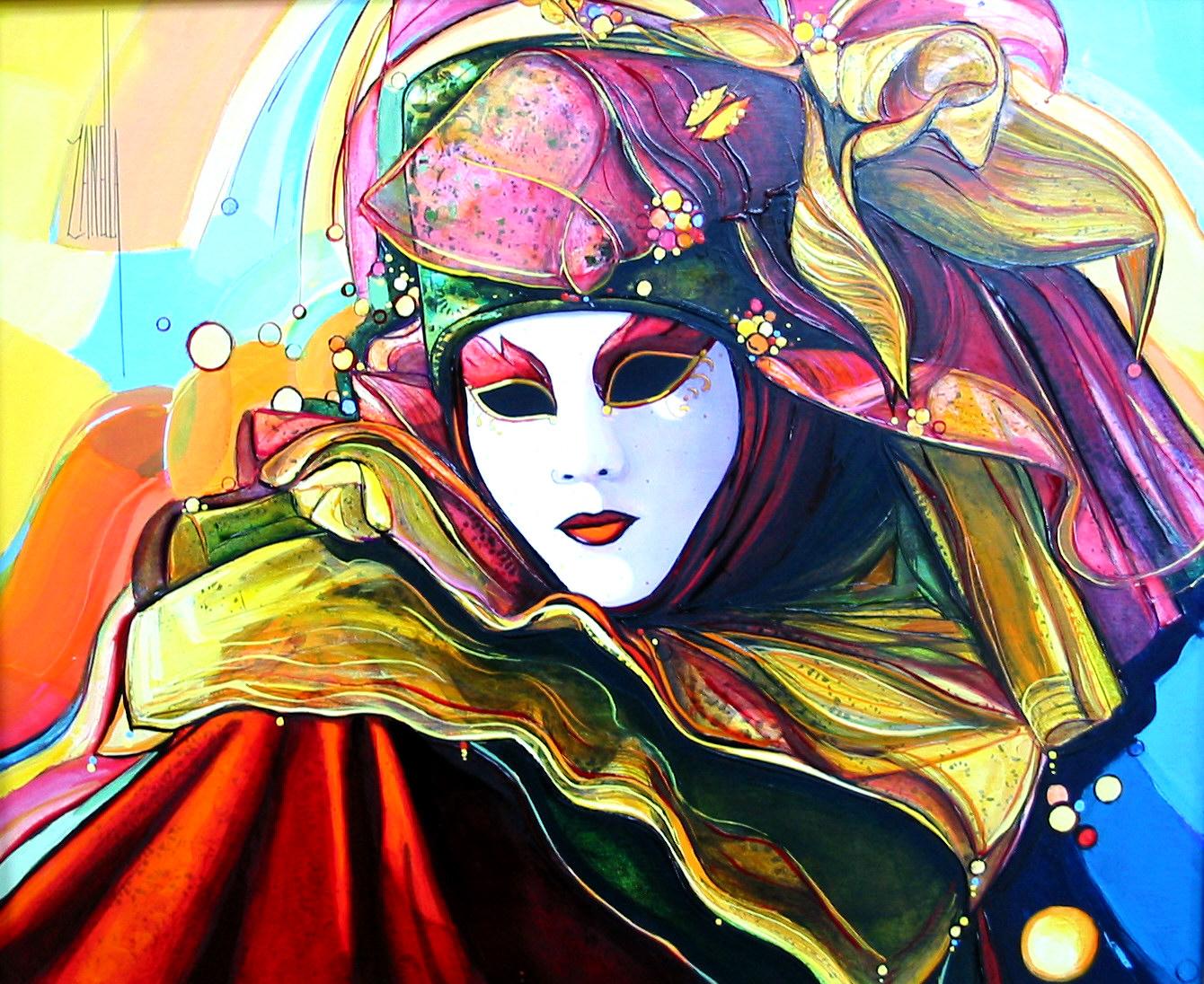 2004-Venise le masque au chapeau-8F