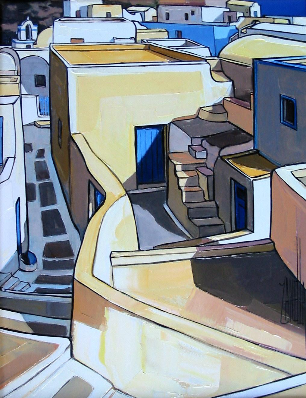 2005-Descente dans EMBORIO (Santorin)-5F