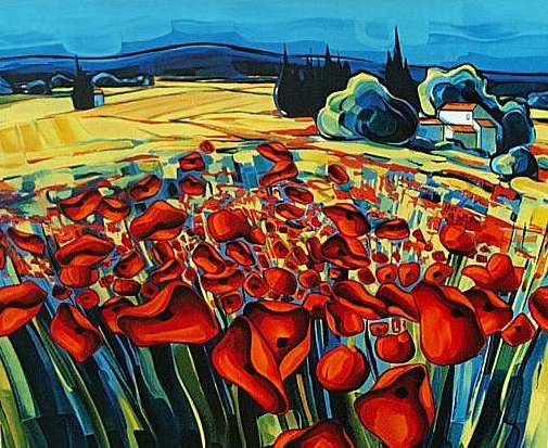 ZAN-Coquelicots-à-travers-Champs-72x57cm-Lithograph-Edition-2-SOLD-OUT