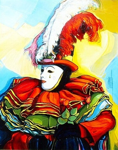 ZAN-Le masque blanc au chapeau a plumes-6F-2000